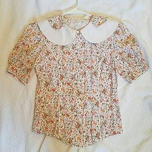 Tops - Vintage button up floral print collar detail shirt